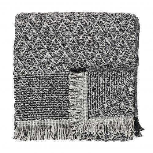 Bloomingville / Froté uterák so strapcami Black 100x50 cm