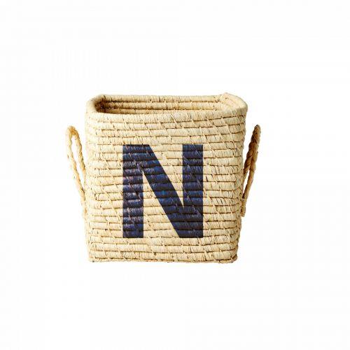 rice / Úložný košík Raffia Small letter N