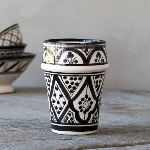 Chic Antique / Keramická marocká šálka Marrakech Black 250 ml