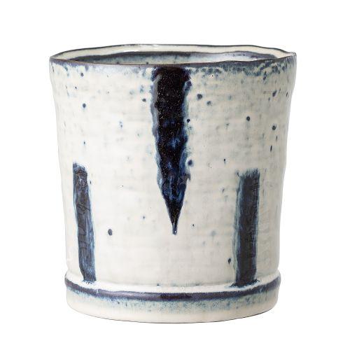 Bloomingville / Keramický obal na kvetináč Blue Stripe – väčší
