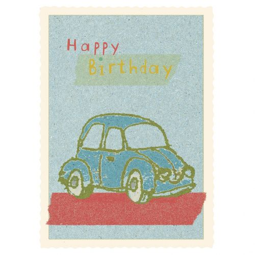Maileg / Narodeninová kartička s obálkou Blue Car
