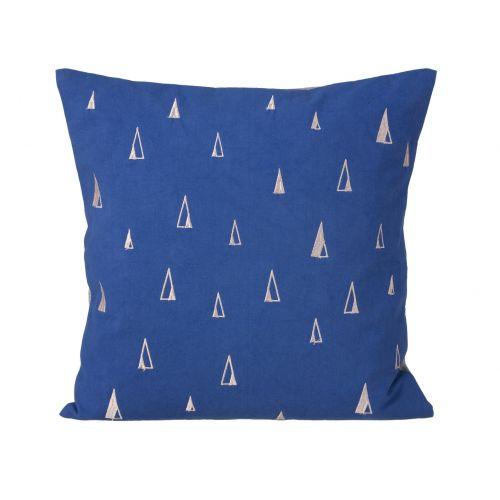 ferm LIVING / Bavlnený vankúš s výšivkou Blue