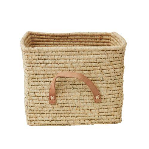 rice / Slamený košík s koženými držadlami Natural