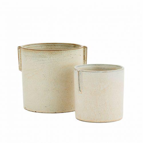 MADAM STOLTZ / Keramický obal na kvetináč Stoneware Ivory