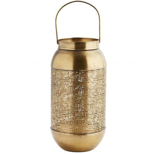 MADAM STOLTZ / Kovový lampáš Antique Brass Perforated