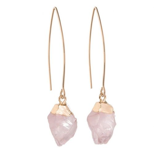 DECADORN / Visiace náušnice Mini Rose Quartz/Gold