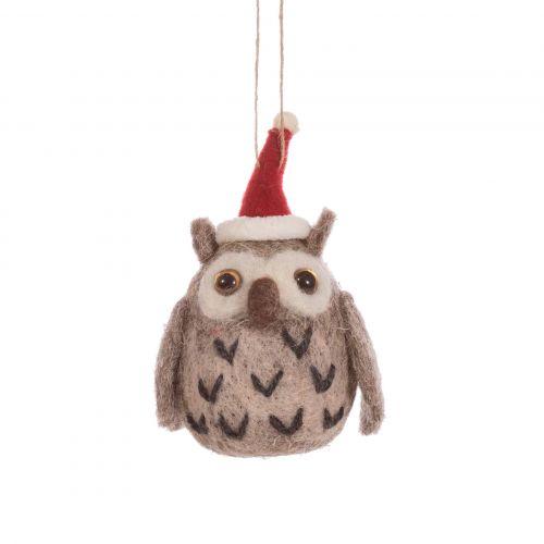 sass & belle / Plstená vianočná ozdoba Owl in Hat