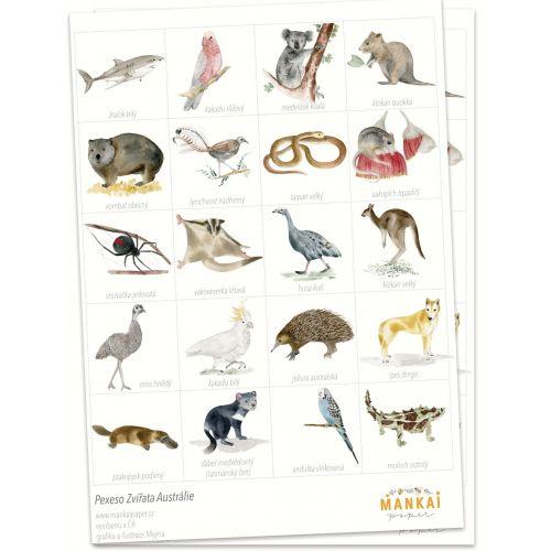 MANKAI Paper / Papierové pexeso Zvieratká Austrálie