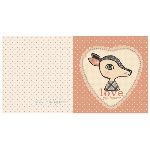 Maileg / Dárkové přání s obálkou Bambi rose