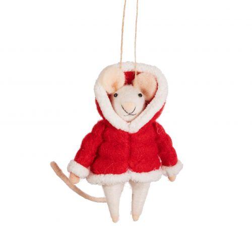 sass & belle / Plstená vianočná ozdoba Mouse in Puffer Jacket