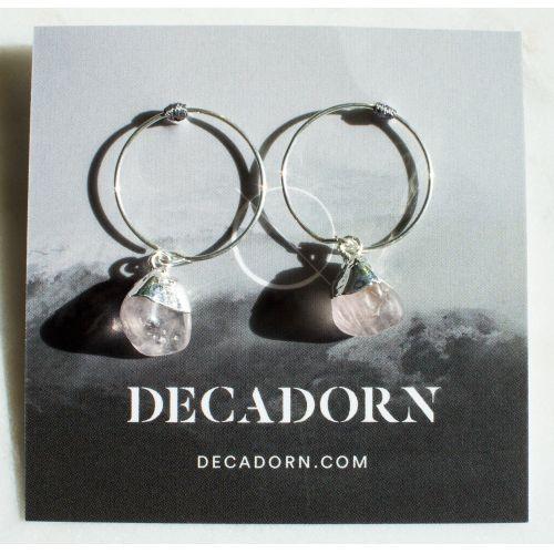 DECADORN / Krúžkové náušnice Tumbled Rose Quartz/Silver