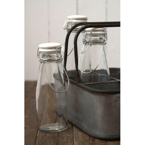IB LAURSEN / Sklenená fľaša s keramickým viečkom White 800ml
