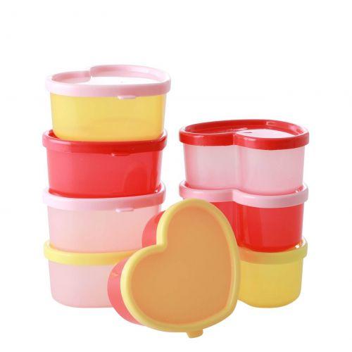 rice / Plastové krabičky Hearts - set 8 ks