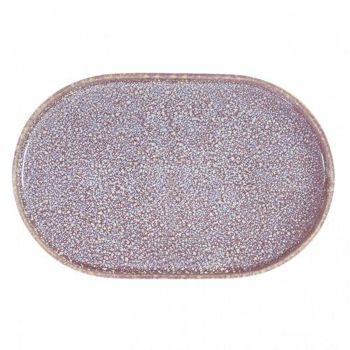 HK living / Oválny keramický tanier Lilac Ceramic