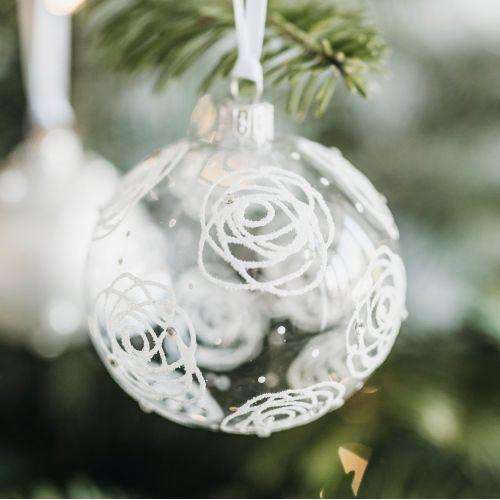 GLASSOR / Sklenená vianočná ozdoba Rose Clear - 8 cm