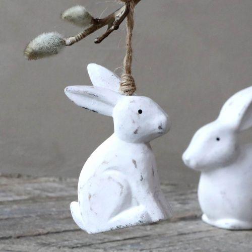 Chic Antique / Dekoratívny zajačik na zavesenie White Wood