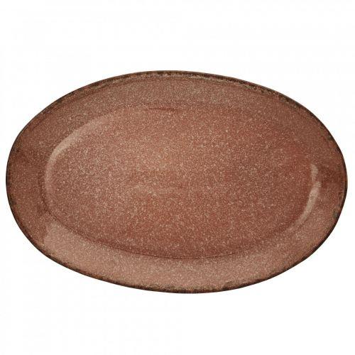 MADAM STOLTZ / Oválny kameninový tanier Terracotta