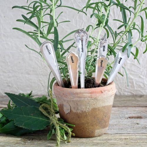 La de da! Living / Postriebrené zápichy na bylinky Herb Planters - set 6 pcs