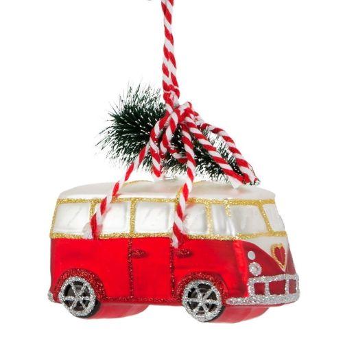 sass & belle / Sklenená dekorácia Red Van with Tree