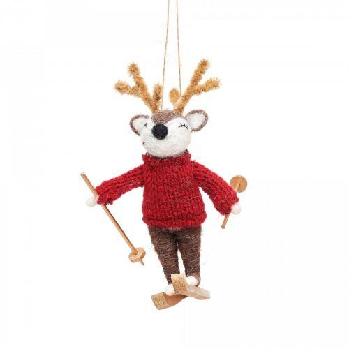 sass & belle / Plstená vianočná ozdoba Deer On Skis