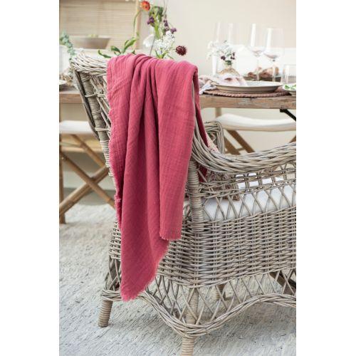 IB LAURSEN / Bavlnený prehoz Weaving Pink