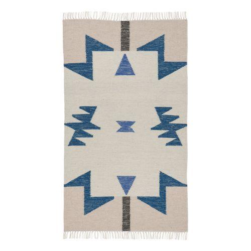 ferm LIVING / Vlnený koberec Kelim Blue Triangles - S
