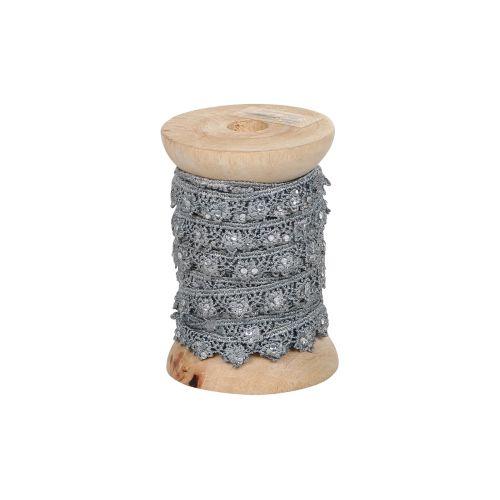 Chic Antique / Krajková stuha s kamínky Grey