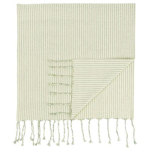 IB LAURSEN / Bavlnená osuška Hammam Green Stripes