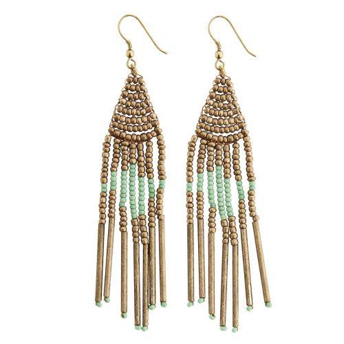 MADAM STOLTZ / Korálkové náušnice Gold & Turquoise