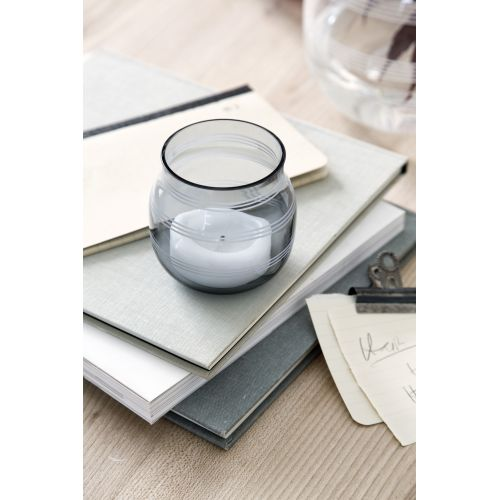 KÄHLER / Sklenený svietnik / váza Omaggio Steel Blue 7,5 cm