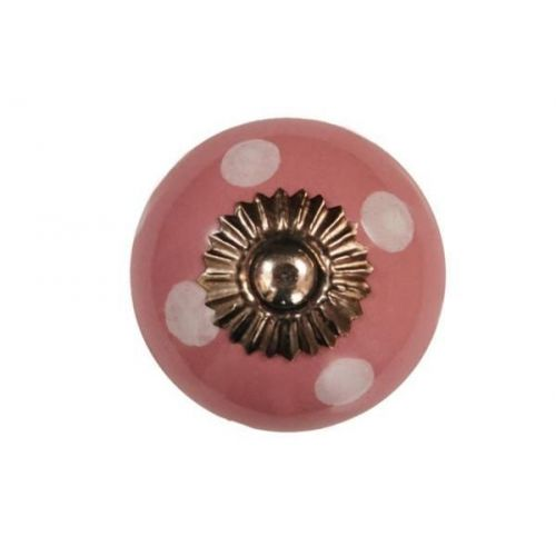 La finesse / Porcelánová úchytka Pink/white dots