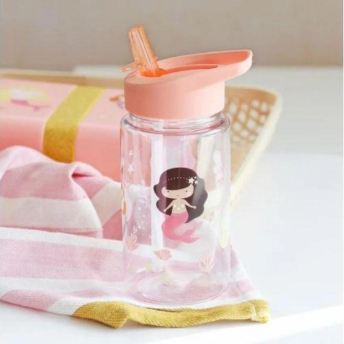 A Little Lovely Company / Detská fľaša so slamkou Mermaids 450 ml + samolepky