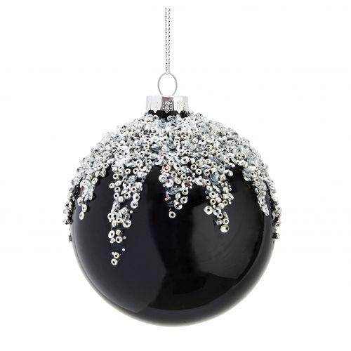 MADAM STOLTZ / Vianočná ozdoba s flitrami Silver