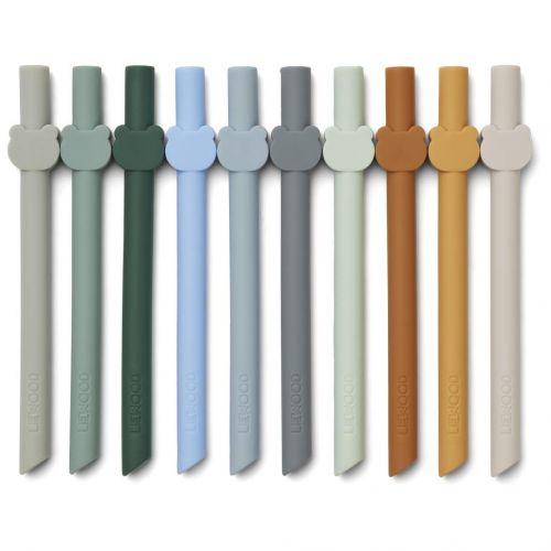 LIEWOOD / Detské silikónové slamky Blue Wave Multi Mix - set 10 ks