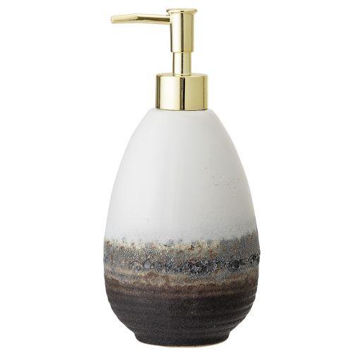 Bloomingville / Keramický zásobník na mydlo Brown & White Stoneware