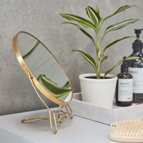 meraki / Kozmetické zrkadlo so stojanom Brass