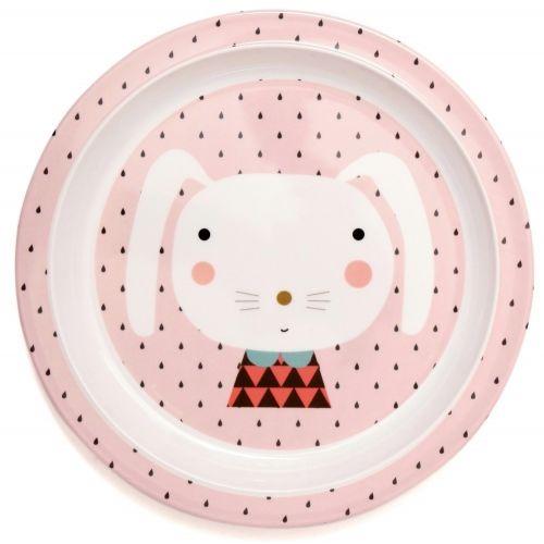 PETIT MONKEY / Melamínový detský tanier Pink Rabbit