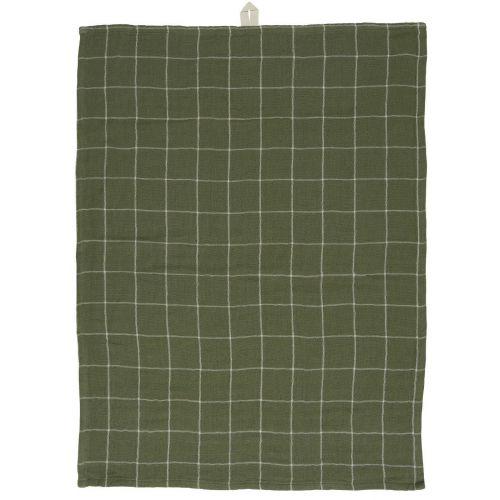 IB LAURSEN / Bavlnená utierka Olive/White Check Pattern