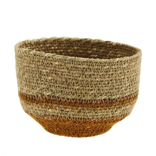 MADAM STOLTZ / Úložný košík Seagrass Orange Stripe