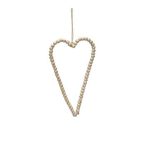Krasilnikoff / Dekoratívne srdce z drevených korálok Gold