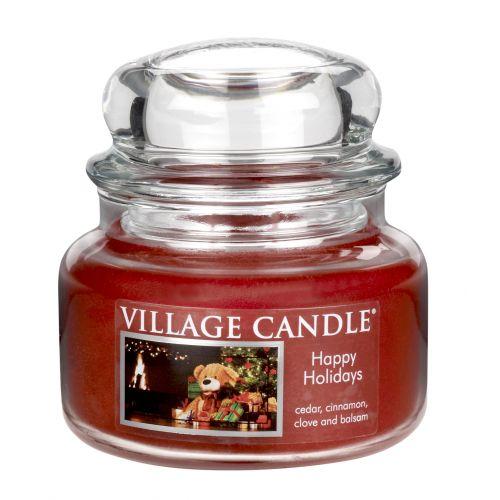 VILLAGE CANDLE / Sviečka v skle Happy holidays - malá