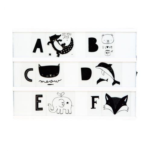 A Little Lovely Company / Set obrázkov a písmenok pre Lightbox ABC Black