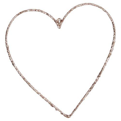 GREEN GATE / Závesné kovové srdce Champagne - väčšie