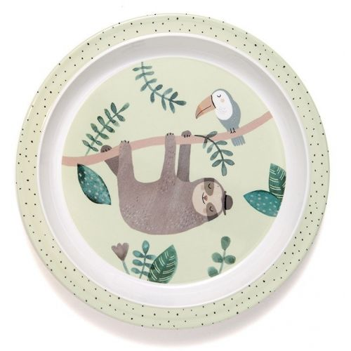 PETIT MONKEY / Detský melamínový tanier s okrajmi Sloth