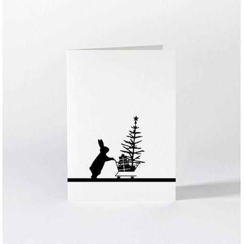 HAM / Čierno-biele vianočné prianie Christmas Shopping Rabbit
