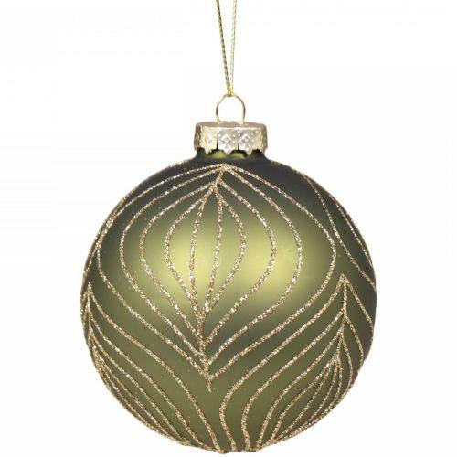 Chic Antique / Sklenená ozdoba Moss Glitter Pattern 8 cm