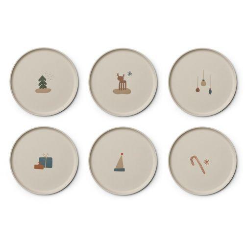 LIEWOOD / Detské bambusové taniere Holiday Mix - set 6ks