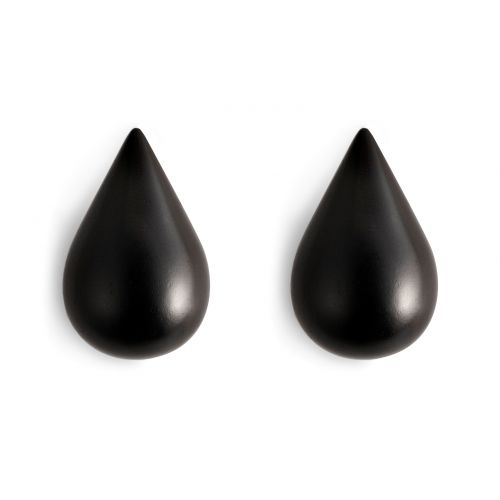 normann COPENHAGEN / Dřevěné háčky Large Black Drop - set 2 ks