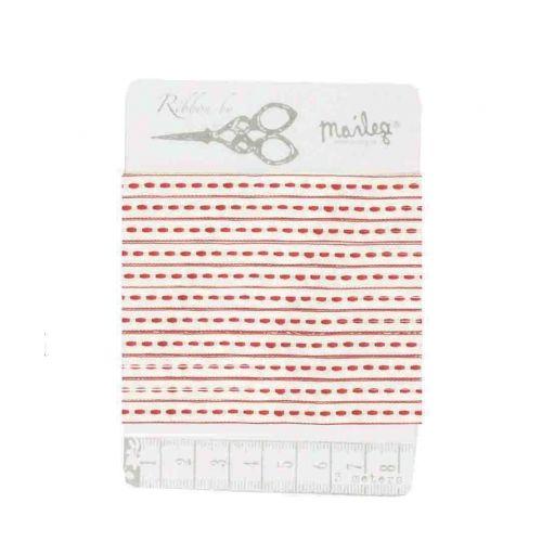 Maileg / Bavlněná stuha Pearl white/red