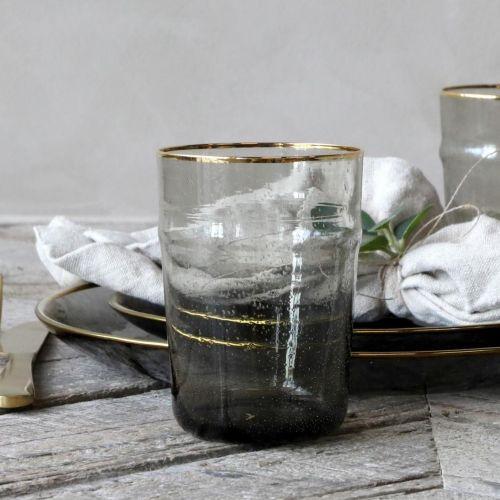 Chic Antique / Pohár Grey Golden Edge 350 ml
